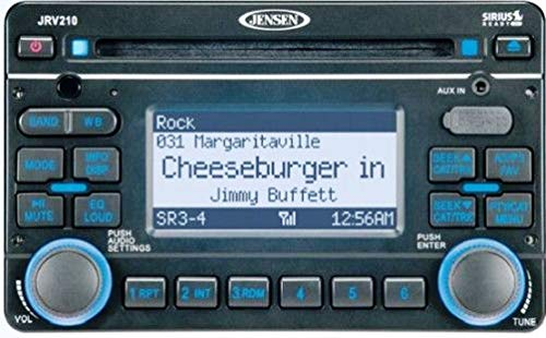 Jensen JRV210B AM/FM/CD/USB/iPod & Sirius Ready 2.0 DIN Stereo Mobile Audio System, 4 x 50W Max Power, White LED Backlit Display with Blue Backlit Controls, NOAA 7-Channel Weather Band