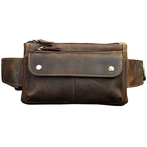 whbage Hüfttasche Leder Männer Casual Design Taille Gürteltasche Brust Pack Mode Rindsleder Reise 7 elefon Zigarettenetui Tasche Männlich
