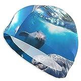 Tcerlcir Gorro Natación Delfines en el océano Gorro de Piscina para Hombre y Mujer Hecho de Silicona Ideal para Pelo Largo y Corto