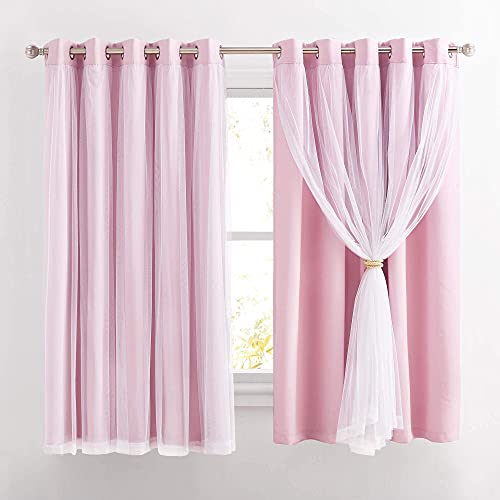 PONY DANCE Pink Curtains for Girls Bedroom - Double-Layered Panels with Tie-Backs Solid Blackout Sheer Curtains 63 inches Long, 70 Inch Wide Drapes with Grommet Top, Blush Pink, 2 Pieces