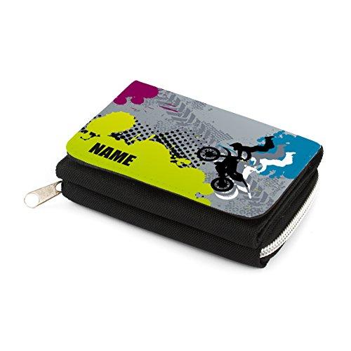 Striefchen Kindergeldbörse mit Namen - Motocross - in schwarz mit Geschenkverpackung