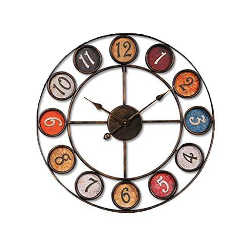 Yuany Vintage industriële ronde wandklok, metalen frame grote stille batterij bediende klok, decoratieve klok voor huis Loft Woonkamer-een Diameter 60cm(24inch)