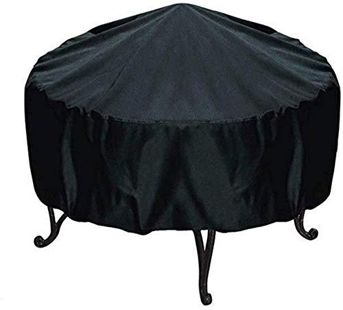 YUXO stofbescherming voor meubels rond zwart open haard buiten, afdekking van Oxford-weefsel, waterdichte afdekking, D33,0 x 19,7 inch / 84 x 50 cm
