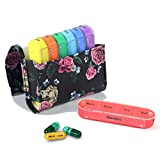 Pill Organizer,LIZIMANDU Weekly Travel Pill Case Box Medication Reminder Daily AM PM, Day Night 7 Compartments,for 4 Times A Day, 7 Days a Week-Includes Leather PU Carrying Case(Black Rose)
