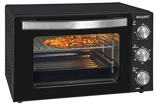 Exquisit Mini four MO 3301 sw | Four | 1500 W | Four à pizza | Fonction minuteur | Petit four | Noir