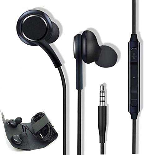 3.5mm Aux Wired in-Ear Headphones, Headphones/Earphones/Earbuds with Mic and Remote Control Compatible with Galaxy S10/S9/S8/S7/S6/S5 Note 5/6/7/8/9 and More Android Devices(Black)-2 Pack