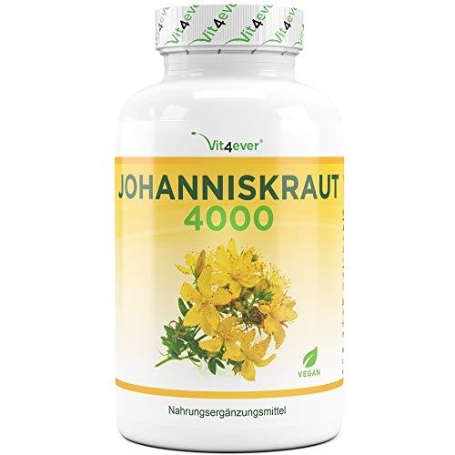 Johanniskraut - 180 Kapseln mit je 500 mg 8:1 Extrakt (entspricht 4000 mg) - Premium: Standardisierter Hypericin Anteil - Laborgeprüft - Hochdosiert - Vegan