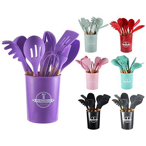 18 Pieces Home Kitchenware Gadgets Nonstick Silicone Cooking Set Kitchen Utensils With Plastic Holder (Purple)