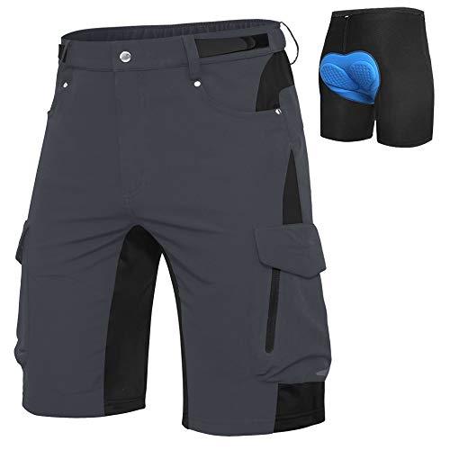 Cycorld MTB Hose Herren Fahrradhose, Schnelltrocknende MTB Shorts Herren Mountainbike Hose Baggy Bike Shorts, Atmungsaktiv Radhose mit Verstellbaren Klettverschlüssen (Dark Grau+ Pad, M)