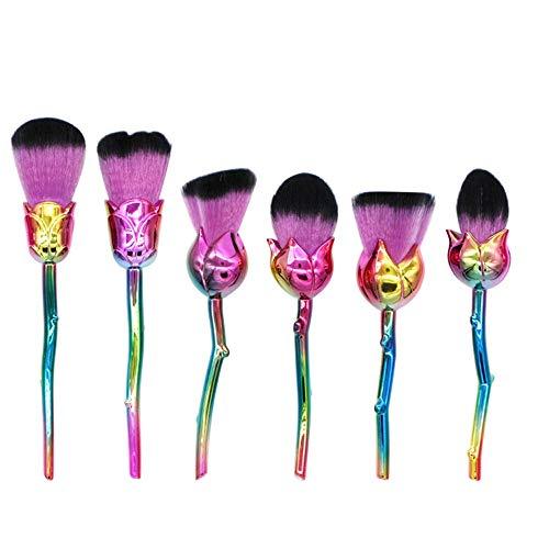 GBY Lot de 6 pinceaux cosmétiques colorés pour fond de teint, blush, anti-cernes, ombre, fard à paupières, eyeliner maquillage, Fibre synthétique., 04, Free