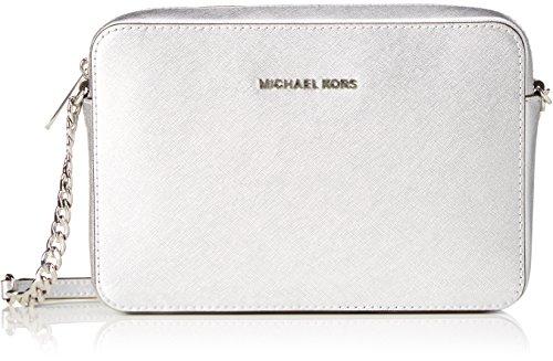 Michael Kors Damen Jetset Lg Ew Crossbody Umhängetasche, Silber (Silver)