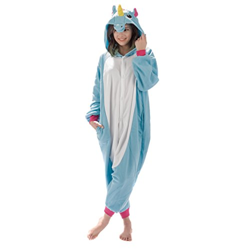 Emolly Fashion Adult Unicorn Animal Onesie Costume Pajamas for Adults and Teens (Small, Blue)