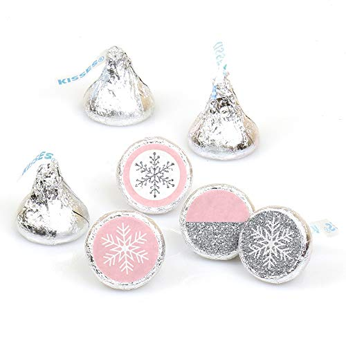 Big Dot of Happiness Pink Winter Wonderland - Holiday Snowflake Birthday Party or Baby Shower Round Candy Sticker Favors - Labels Fit Hershey