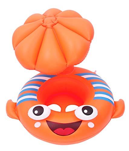 EOZY-Salvagente Neonato con Tetto Stampa platessa Anello di Nuoto per Bambino 1-4 Anni Gonfiabile per Piscina Regolabile Baby Float Giocattoli Galleggianti Cartoon Animali (Arancione)