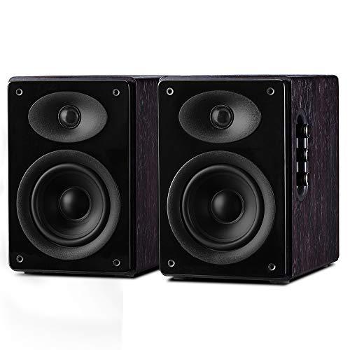 SWANS M300 Bluetooth Bücherregal-Lautsprecher, Holz Aktiv-Lautsprecher Paar für Wohnzimmer, Optisch/Koaxial/RCA/AUX-Eingang, EQ-Steuerung und Fernbedienung, 240 W RMS – Braun D1010MKII