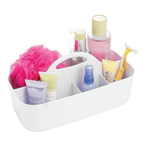 mDesign Contenitore Bagno - Portaoggetti a 6 Scomparti - Organizer Bagno e Doccia - per Shampoo, Sapone, Cosmetici, Rasoio, balsamo, Creme - Materiale