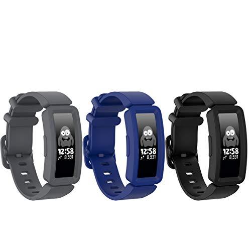 Ruentech - Brazalete Compatible con Fitbit Ace 2 Activity Tracker para niños, Correa de Silicona de Repuesto Compatible con Fitbit Ace 2 Fitness Tracker Kids, Color Schwarz/Grau/Blau
