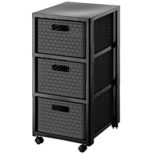 Rotho Country Rollcontainer mit 3 Schubladen in Rattan-Optik, Kunststoff (PP) BPA-frei, anthrazit, 3 x A4/18l (37,5 x 32,5 x 71,2 cm)