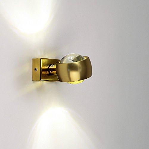 Wandleuchte s.LUCE Beam Up&Down mit Glaslinsen gold moderne Wohnzimmerleuchte mit Lichteffekt Schlafzimmerleuchte Flurbeleuchtung Treppenhaus