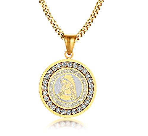 VNOX Edelstahl Zirkonia Runde Tag Virgin Mary Anhänger Halskette Gewohnheit Amulett Schmuck Gold,freier Stich