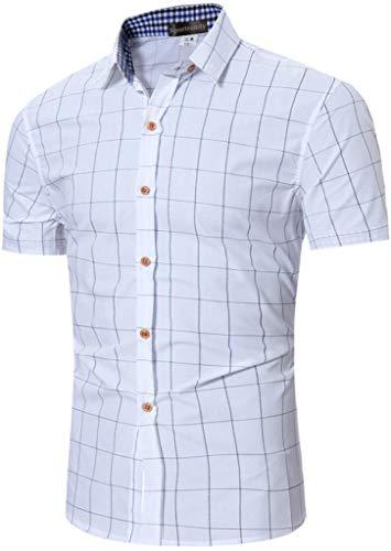 Sportrendy Hombre Camisa Casual Verano Camisas de Manga Corta Shirt JZA103 White...