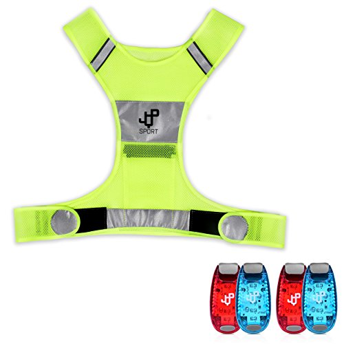 JQP Sports Running Vest and 4 LED Safety Light Set The Perfect Waterproof...
