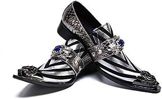 Phil Beauty Argent Bottes De Cheville Personnalisés Hommes Casual Vintage Snake Skin Texture Chaussures Pointues Spectacle...