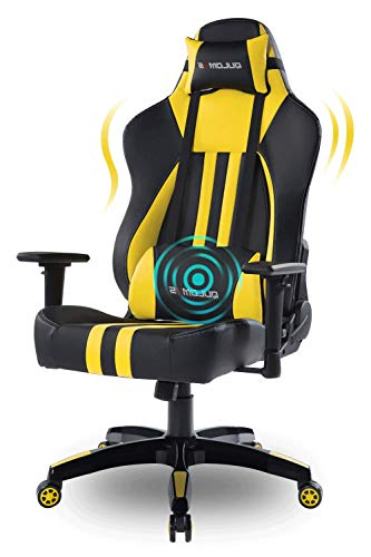 Qulomvs Big and Tall Computer Gaming Chair 400lbs Heavy Duty Massage Video Game Chair for Adults Ergonomic Racing Gamer Chair for PC Headrest and Lumbar Support (Yellow)
