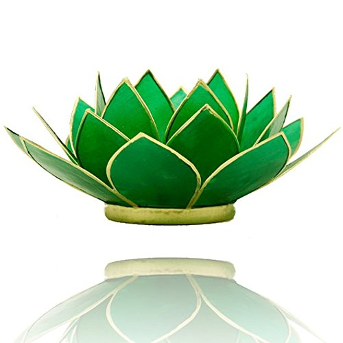 Panotophia Chakra Lotus Licht, Capiz Teelicht grün 4.Chakra