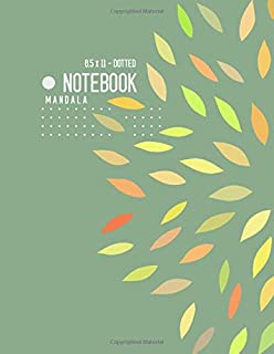 Dotted Notebook 8.5 x 11 Mandala: Big  Journal Notebook Dusty Green, Stylish Mandala Design, Blank, Dot Grid, , Soft Cover, Numbered Pages, No Bleed (Large Dotted Notebook Journals)