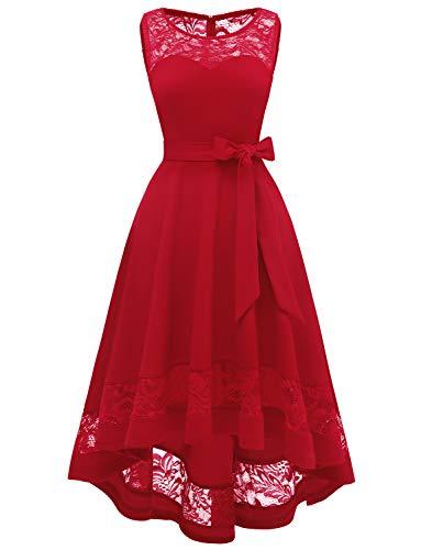 Damen Elegant Kleider Spitzenkleid Ohne Arm Cocktailkleid Knielang Rockabilly Kleid Rotes Festliche Kleider für Damen Red S