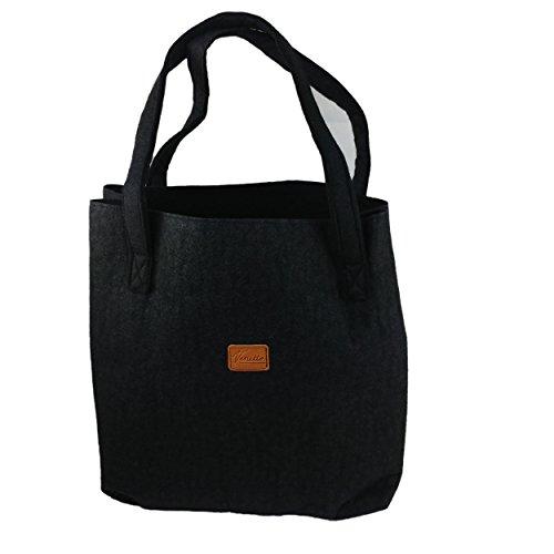 Shopper Einkaufstasche Damentasche Handtasche aus Filz, sehr leicht mit Gelbeutel integriertes Portemonnaie abnehmbar (Schwarz)