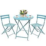 Set bistrot tavolo + 2 sedie, pieghevole azzurro