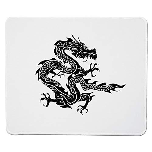 Yanteng Gaming Mouse Pad Japanischer Drache, Kulturkreiszeichen-Symbol Monochrome Grafikstil Östliche Drachenklauen-Skalen, Schwarzweißer genähter Rand