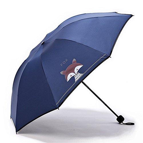 Maibar Sonnenschirm UV Frauen Taschenschirme Stockschirme Anti-UV Fuchs Tier Karikatur Gemalt Regenschirm Klappschirme (tiefblau)