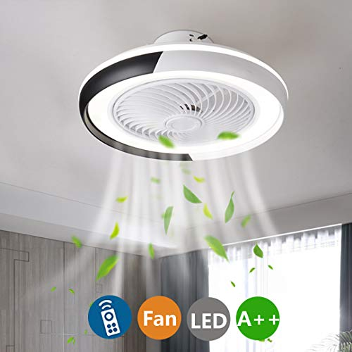LED Moderno Lámpara de Techo Ventiladores de techo con lámpara y Control Remoto Sala de Estar Silenciosa Invisible Dormitorio Habitación Infantil Ventilador Lámpara de Techo Ø50cm, 52W (A-Negro)