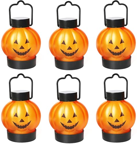 KEAIDO - Lampada a forma di zucca, 6 pezzi, per Halloween, con luce a LED, per autunno, autunno, raccolto, alimentata a batteria, colore: arancione