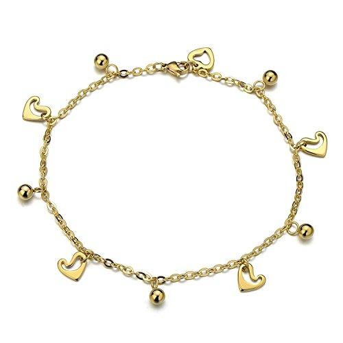 COOLSTEELANDBEYOND Oro Acciaio Inossidabile Cavigliera da Donna con Cuore Charms