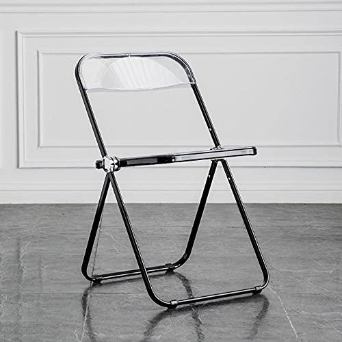 Heating Pads Silla plegable transparente, asiento de cristal transparente, silla plegable apilable,...