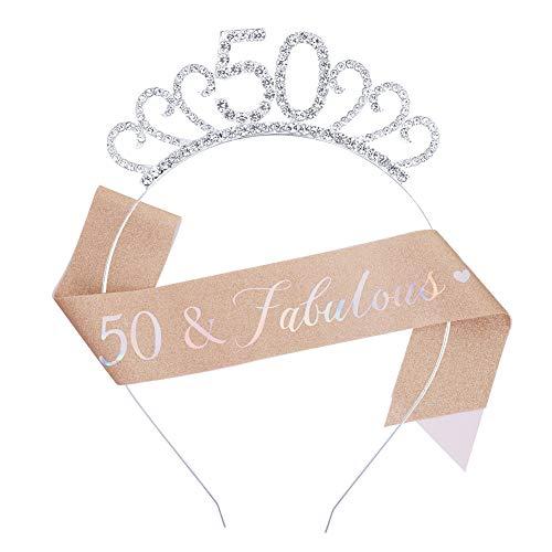Firtink Geburtstags-Krone 50 Geburtstags Kristall Tiara Krone mit Geburtstags Schärpe