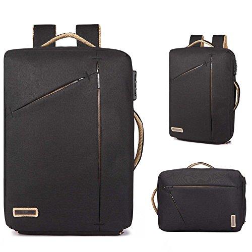 Neuleben Multifunktional 15.6 Zoll Laptop Rucksack Handtasche Diebstahlschutz Wasserfest Business Aktentasche Notebooktasche für Damen Herren (Schwarz)
