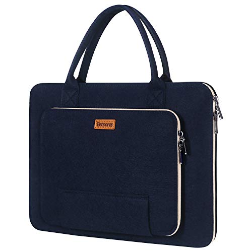15.6' Felt Laptop Sleeve with Handle, Betoores Soft Padded Laptop Bag Computer Case Carrying Bag Handbag for 15 15.6 Inch Asus/Acer/Dell/HP/Lenovo/Toshiba, Navy Blue+Creamy-White