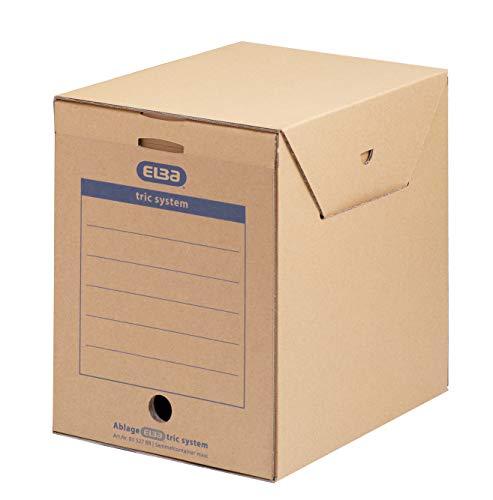 ELBA 100421092 Sammelcontainer tric system Maxi 6er Pack für Ordnerfüllungen und Papiere aller Art naturbraun Archivschachtel Archivbox