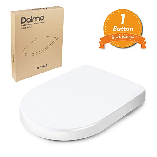 Tapa de WC, Dalmo TBTS04B Asiento para Inodoro en Forma de D con Desmontaje Rápido de UF Tapa y Asiento para Inodoro con Cierra Suave y Silencioso Fácil de Instalación y Limpieza