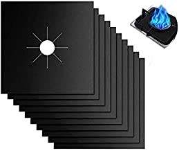 Reusable Gas Stove Burner Covers - 10 Pack Upgrade Double Thickness 0.2mm Non-Stick Stovetop Burner Liners Gas Range Protectors Size 10.6x 10.6 Inch Cuttable Dishwasher Safe Easy to Clean…