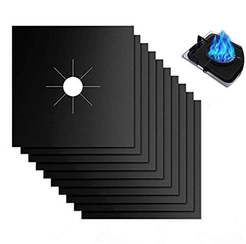 Reusable Gas Stove Burner Covers - 10 Pack Upgrade Double Thickness 0.2mm Non-Stick Stovetop Burner Liners Gas Range Protectors Size 10.6' x 10.6' Cuttable Dishwasher Safe Easy to Clean