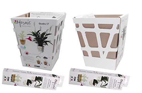 Pack 2 Macetas autorriego de Diseño 17 x 17 cm 20 de Altura con indicador de Agua (Chocolate con Blanco)
