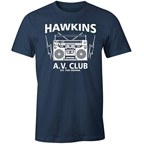 zhengdengshuibaihuodian Hawkins Middle School 1983 AV Club Shirt Black,Navy,X-Large