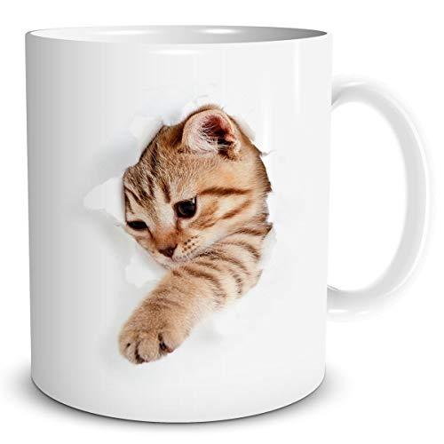 TRIOSK Katzen Tasse lustig mit Katzenmotiv Katze bricht durch Becher Geschenk für Katzenliebhaber Frauen Freundin Kollegin