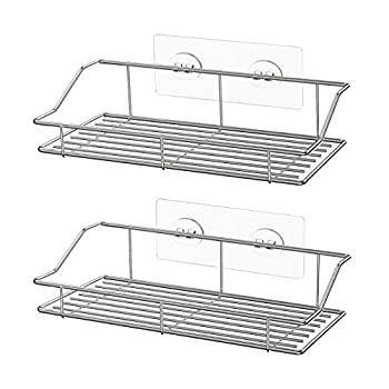SMARTAKE 2-Pack Shower Caddy Adhesive Bathroom Shelf Wall Mounted No Drilling Strong Shower Caddies Kitchen Racks - Stainless Steel Storage Organizers  9.9 Inches  Silver